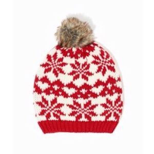 Red Snowflake Pom Beanie Hat