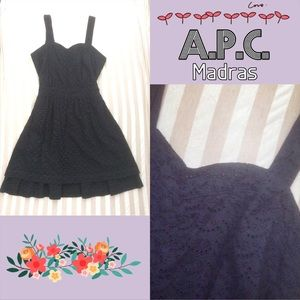 APC Dresses & Skirts - APC Madras sweetheart neckline eyelet black dress