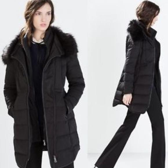 b7ac3f6fe2e8 Black Zara fur down jacket XXL winter puffer cloat.  M 57e4429cc284564770004ae4