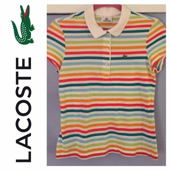 c0749867 Lacoste Tops | Pique Rainbow Striped Polo | Poshmark