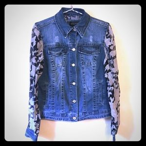 Unique Denim Jean Jacket w/ Contrast Sheer Sleeves