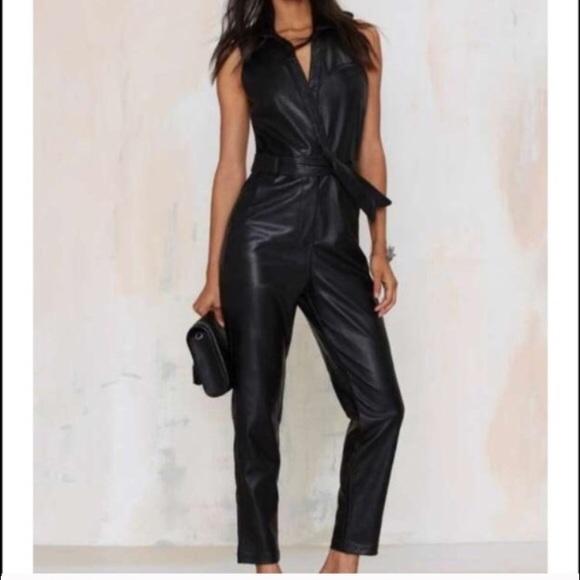 15edac432228 NWT Nasty Gal Black Leather Jumpsuit S