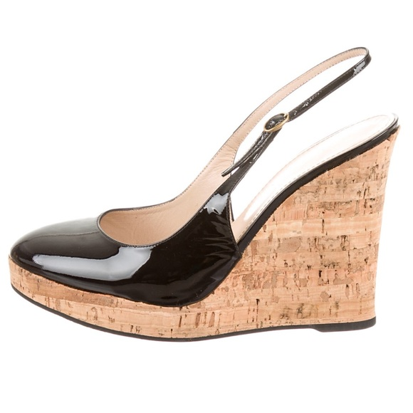 Yves Saint Laurent Patent Leather Slingback Wedges cheap sale low shipping largest supplier manchester great sale cheap online bZdC7fEhKi