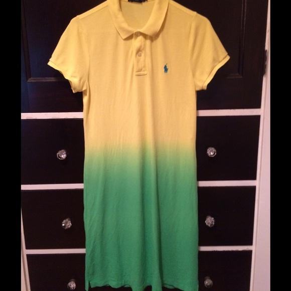 Ralph Polo Ombre Yellow Lauren Dress Green kZuwOPXiT