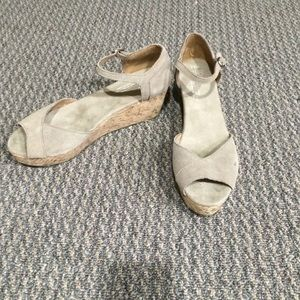 TOMS wedge peep toe sandals.