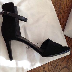 NIB Vince Adley black suede sandal heels