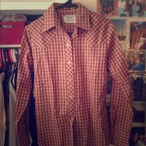 Vintage Plaid Western Pearl Snap Button Down