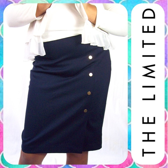 835ddae049 The Limited Skirts | Limited Navy Brass Button Jersey Pencil Skirt ...