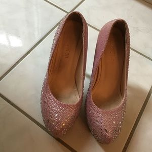 Shoes - Pretty bling bling sparkly light pink heels 6