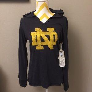 47 Tops - NWT Notre Dame Long Sleeve Hooded Top Medium