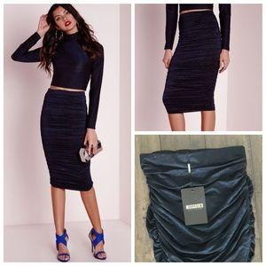 Dresses & Skirts - $70 Missguided Metallic Navy ruched midi skirt