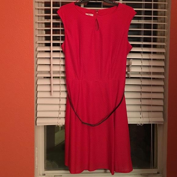 6acbdee485 Red Skater Dress w  belt