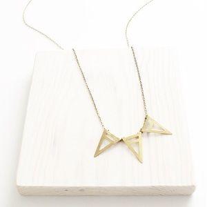 Raw Brass Trio Triangle Necklace
