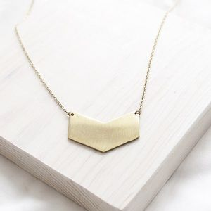 Chevron Pendant Raw Brass Necklace