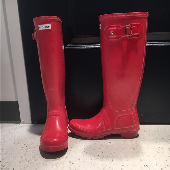 50% off Hunter Boots Shoes - Hunter tall red rain boots from ...