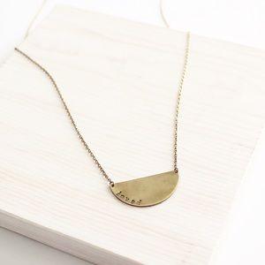 LucyMint Jewelry - Half Moon Handmade Brass Pendant