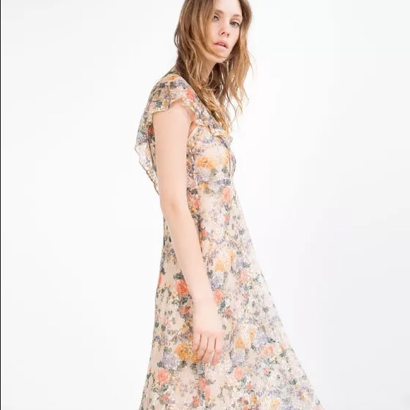 aed34726 Zara Dresses | Floral Lace Midi Dress | Poshmark