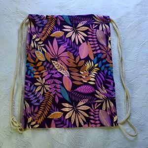 Purple Leaves Drawstring Bag
