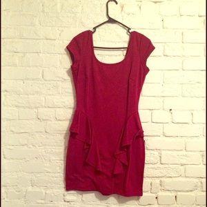 Dresses & Skirts - Wine color peplum dress