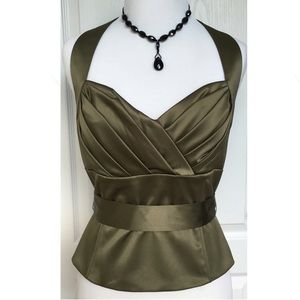 Cache Tops - Cache Luxe Green Satin Formal Top 10 M