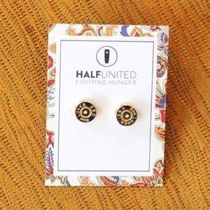 "Half United Jewelry - ""Ali"" Gold Bullet Top Stud Earrings"