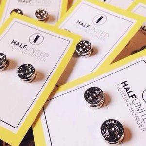 "Half United Jewelry - ""Ali"" Silver Bullet Top Stud Earrings"
