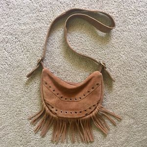 Tan Suede Fringe Crossbody Bag