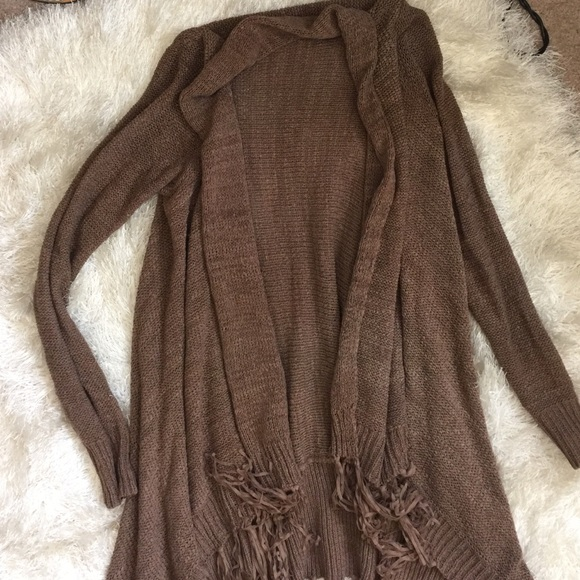 ANGL - Chocolate brown knit open cardigan duster sweater from ...