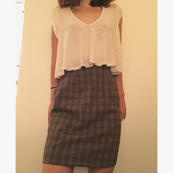 Brandy Melville - High Waisted Plaid Pencil Skirt from Emily's ...