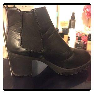 Black slip on booties