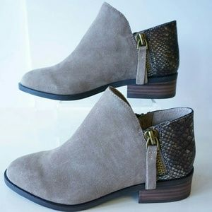 Very Volatile LA Shoes - Suede & Snakeskin ankle booties