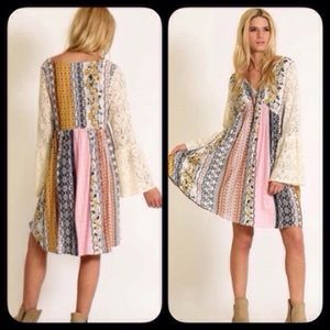 Dresses & Skirts - ❣SMALL❣ Pastel Boho Chic Flowy Lace Sleeve Dress