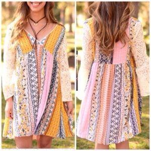 ❣S-3XL❣  Pastel Colorful Lace Sleeve Dress Plus