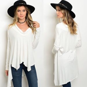 Boutique Tops - Off-White Long Sleeve Cowl Neck Tunic Top