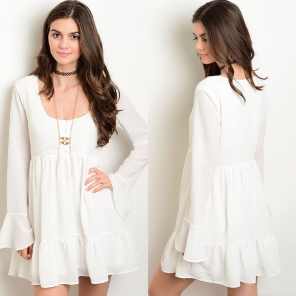 243b818a1a3 🎉CLEARANCE🎉 White Bell Sleeve Ruffle Boho Dress