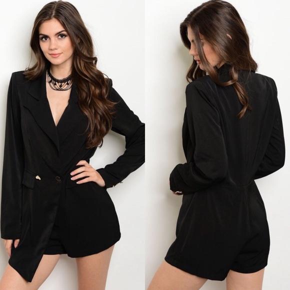 5b0febb7d840 Boutique Pants   Black Long Sleeve Blazer Tuxedo Romper   Poshmark