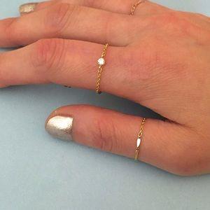 dainty gold bar chain ring