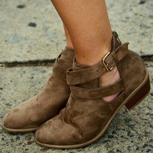 Shoes - Cutout buckled booties