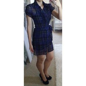 Navy Collared Ruffle Plaid Chiffon Shirt Dress M