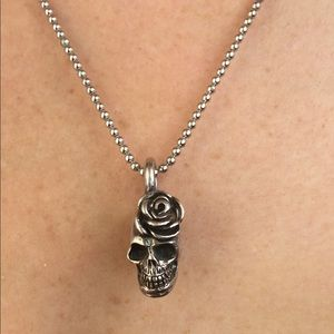 King Baby Studio Jewelry - King Baby Rose Skull Charm Necklace