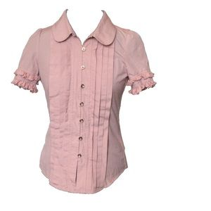 Size 2 Juicy Couture Blush and Ruffle Pleated Top