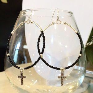 Jewelry - Cross hoop earrings
