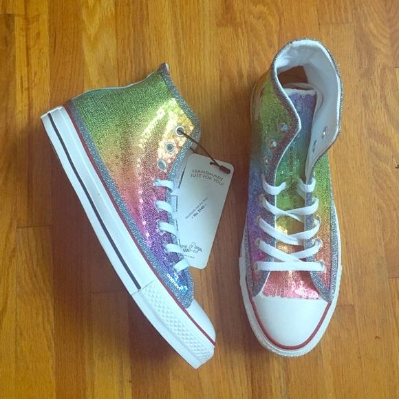 081de75da000 Rainbow Sequin Hi Tops Converse Sneakers Shoes