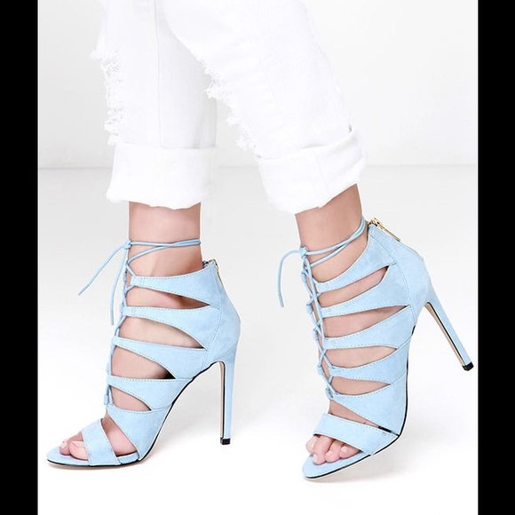 80210a59211c Light Blue Suede Lace Up High Heels - size 8.5