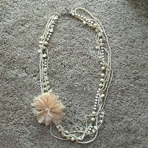 Jewelry - Multi strand peach and tan long necklace