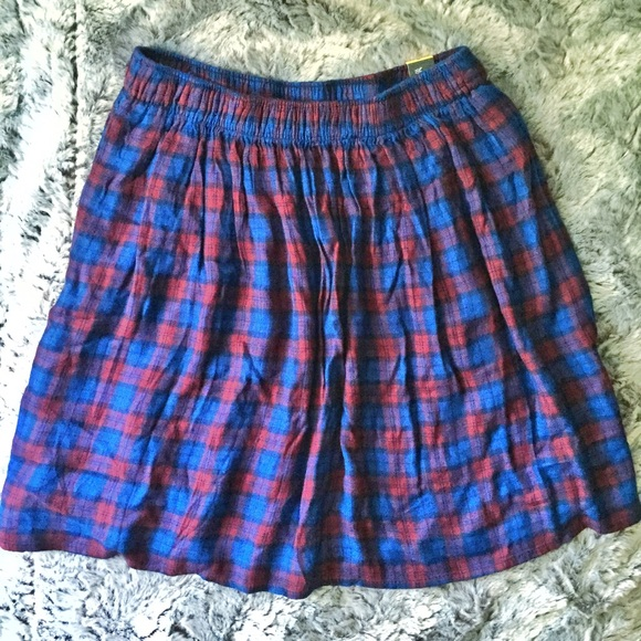 031452d655 Abercrombie & Fitch Skirts | Abercrombie Fitch Blue And Red Plaid ...