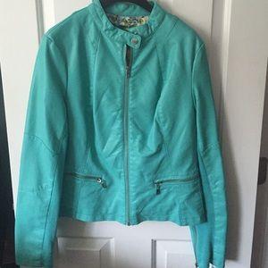 Black Rivet Jackets & Blazers - Turquoise Faux-Leather jacket