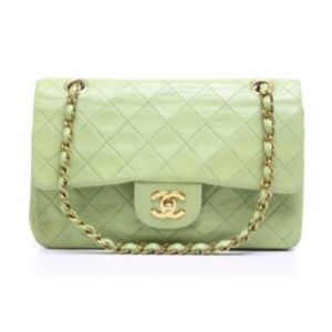 Chanel Lime Lambskin Small Double Flap Bag
