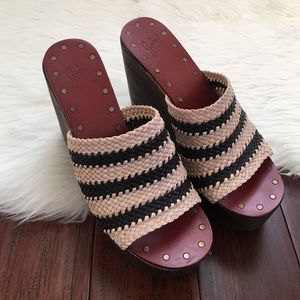 Joie Shoes - | Joie | Riveted Woven Slip On Wedges