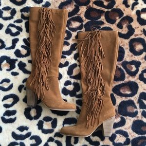 Steve Madden Tan Fringe Knee High Boots